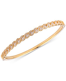 Tiara Cubic Zirconia Braid-Look Bangle Bracelet in 14k Gold-Plated Sterling Silver