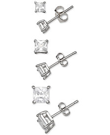 Giani Bernini 3-Pc. Set Cubic Zirconia Princess Stud Earrings in Sterling Silver, Created for Macy's
