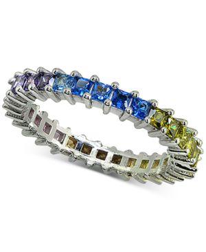 GIANI BERNINI   Giani Bernini Cubic Zironia Rainbow Ring In Sterling Silver, Created For Macy'S   Goxip