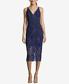 Xscape Embroidered Lace Sheath Dress