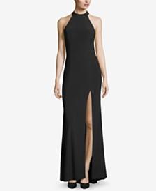 Xscape Crisscross Slit Halter Gown