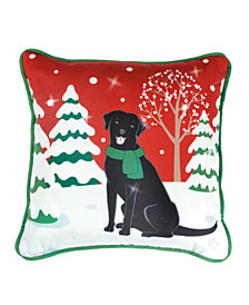 Lite Me Up Christmas Dog LED Decorative Pillow