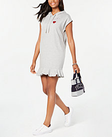 Tommy Hilfiger Ruffle-Hem Hoodie Sweatshirt Dress, Created for Macy's