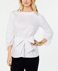 Tommy Hilfiger Sash-Waist Blouson-Sleeve Top, Created for Macy's