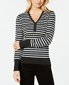 Tommy Hilfiger Striped Metallic-Knit Sweater, Created for Macy's