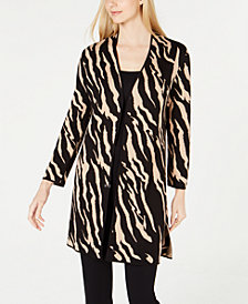Kasper Animal-Print Sweater Jacket