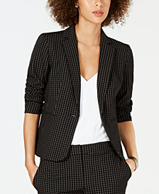 Nine West Windowpane-Print Blazer