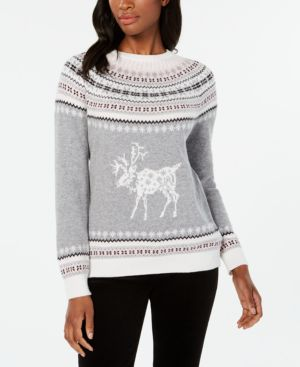 Fair Isle Reindeer-Pattern Sweater, Created For Macy'S, Med Heather Grey Combo