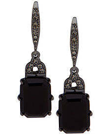 Lauren Ralph Lauren Hematite-Tone Jet Stone Drop Earrings