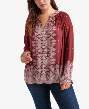 Lucky Brand Tops TRENDY PLUS SIZE PRINTED PEASANT TOP