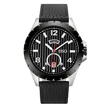 Men's ESQ0073 Stainless Steel Watch, Black Dial, Day and Date Windows