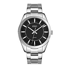 Men's Stainless Steel Bracelet Watch, Black Dial and Crystal Accents