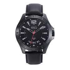Men's ESQ0180 Black IP Stainless Steel Watch with Black Dial and Date Window