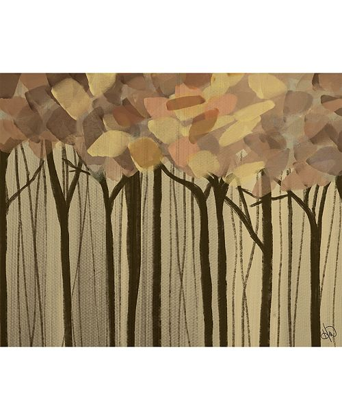 """Creative Gallery Neutral Painted Leaves Abstract Forest 24"""" X 36"""" Acrylic Wall Art Print"""