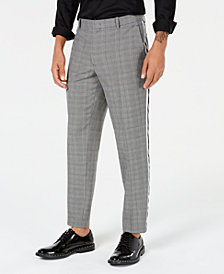 I.N.C. Men's Glen Plaid Side-Striped Pants, Created for Macy's