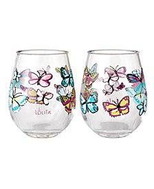 Enesco Lolita Butterfly 2-Pc. Stemless Wine Glass Set