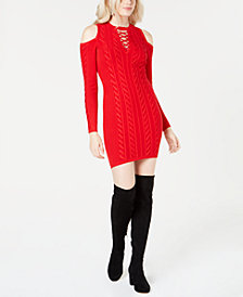 GUESS Allison Cold-Shoulder Sweater Dress