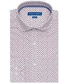 Vince Camuto Men's Slim-Fit Comfort Stretch Burgundy Floral Print Dress Shirt