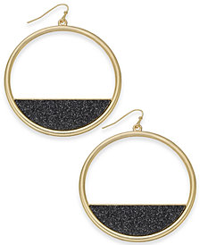 "Thalia Sodi Extra Large Gold-Tone Black Glitter Hoop Earrings, 2.2"" Created for Macy's"