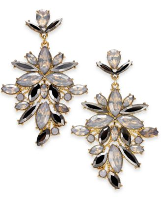 "Image of I.N.C. Extra Large Gold-Tone Crystal Statement Earrings, 2.75"", Created for Macy's"