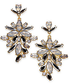 "I.N.C. Extra Large Gold-Tone Crystal Statement Earrings, 2.75"", Created for Macy's"