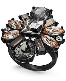 I.N.C. Black-Tone Multi-Crystal Statement Ring, Created for Macy's