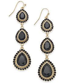 "Thalia Sodi Large Gold-Tone Stone Triple Drop Earrings, 2.5"", Created for Macy's"