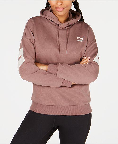 c764abca94ee Puma Retro Logo Fleece Hoodie   Reviews - Tops - Women - Macy s