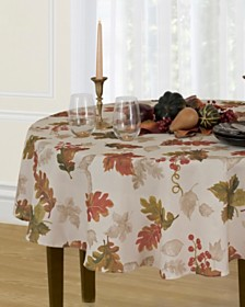 """Elrene Swaying Leaves 70"""" Round Tablecloth"""