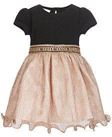 Bonnie Baby Baby Girls Knit-Bodice Metallic Dress
