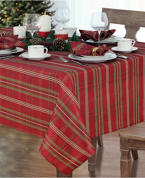 "Elrene Shimmering Plaid 70"" Round Tablecloth"