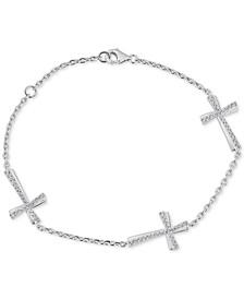 Diamond East-West Cross Bracelet (1/3 ct. t.w.) in Sterling Silver