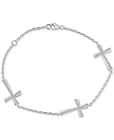 Diamond East-West Cross Bracelet (1/3 ct. t.w.) in Sterling Silver