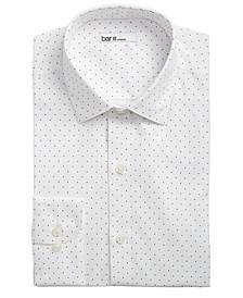 Men's Classic/Regular-Fit Stretch White/Navy Polka Dot Dress Shirt, Created for Macy's