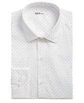 a759d812c676 Bar III Men's Classic/Regular-Fit Stretch White/Navy Polka Dot Dress Shirt