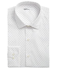 Bar III Men's Slim-Fit Stretch White/Navy Polka Dot Dress Shirt, Created for Macy's