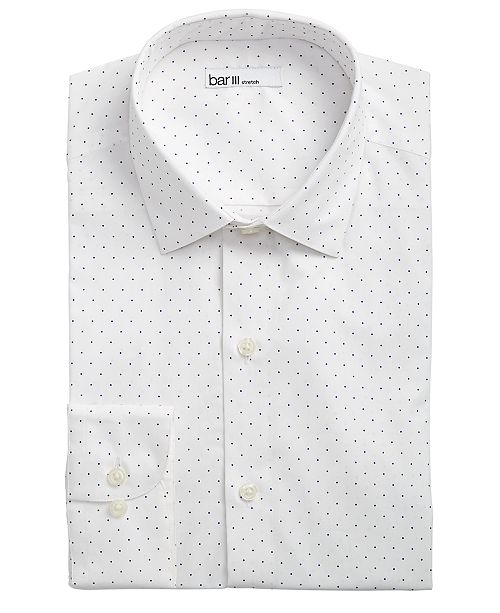 look for luxury purchase newest Men's Slim-Fit Stretch White/Navy Polka Dot Dress Shirt, Created for Macy's