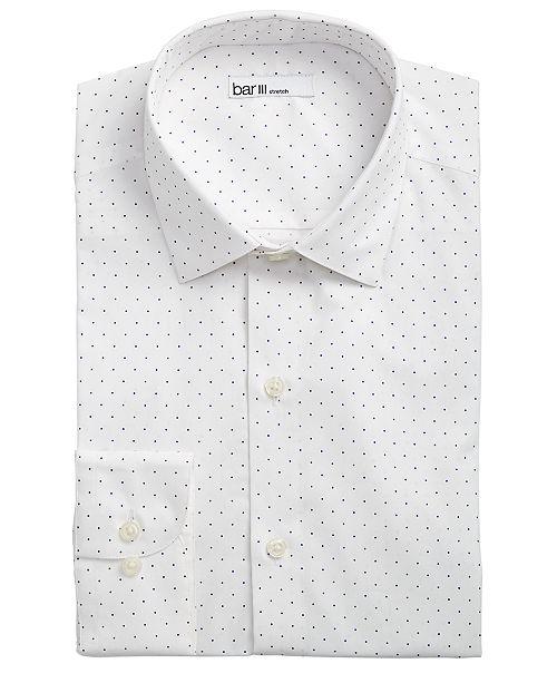 ecb412f92f ... Bar III Men's Slim-Fit Stretch White/Navy Polka Dot Dress Shirt,  Created ...