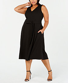 Calvin Klein Plus Size Tie-Detail Fit & Flare Midi Dress