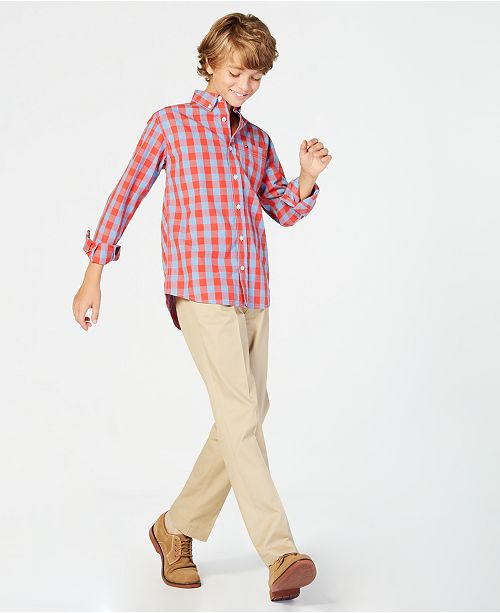 Tommy Hilfiger Big Boys Box-Plaid Cotton Shirt