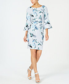 Calvin Klein Petite Bell-Sleeve Floral Dress