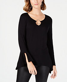 NY Collection Petite Ring-Neck Split-Cuff Top