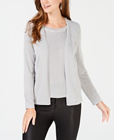 NY Collection Petite Layered-Look Embellished Sweater