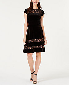NY Collection Petite Velvet Lace Fit & Flare Dress