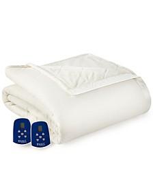Micro Flannel® to Ultra Velvet® Queen Camel Electric Comforter/Blanket