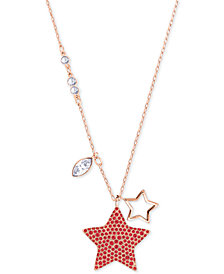 "Swarovski Rose Gold-Tone Red Crystal Star Pendant Necklace, 14"" + 2"" extender, Created for Macy's"