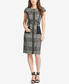 Zip-Front Tweed Sheath Dress, Created for Macy's
