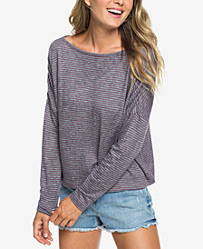 Roxy Your Time Knit Striped Faux-Crossover Top