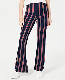 Planet Gold Juniors' Striped Knit Flared Legging