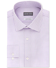 Michael Kors Men's Classic/Regular Fit Non-Iron Airsoft Stretch Performance Purple Check Dress Shirt